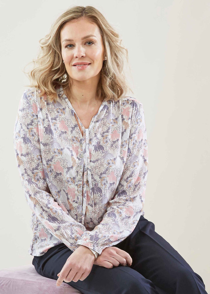 Felicity Floral Print Pure Viscose Long Sleeve Shirt - Pastel: VAT Exempt