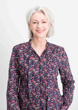 Felicity Floral Print Pure Cotton Long Sleeve Shirt - Navy Floral