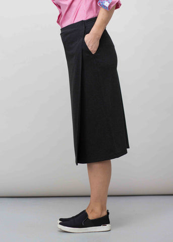 Florence Ponte Pencil Wrap Velcro Skirt - Charcoal: VAT Exempt