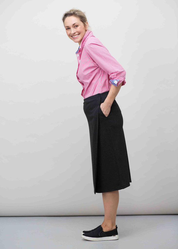 Florence Ponte Wrap Skirt - Charcoal: VAT Exempt