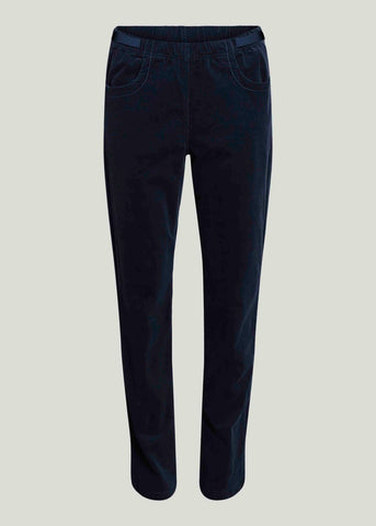 Freya Straight Leg Corduroy Pull On Trousers - Navy