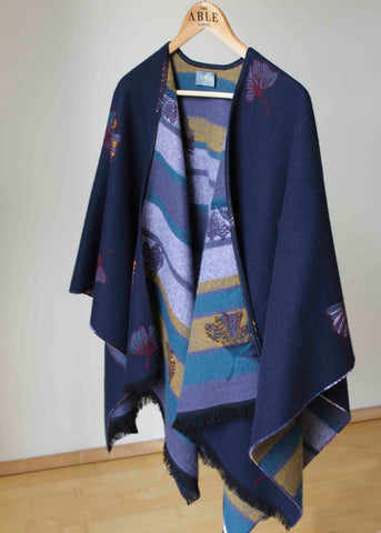 Gingko Luxury Wrap - Navy