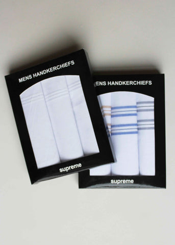Hank Mens Pure Cotton Handkerchiefs 3 Pack Gift Box - White