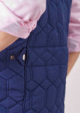 Harriet Diamond Quilted Velcro Gilet - Shibori Navy: VAT Exempt