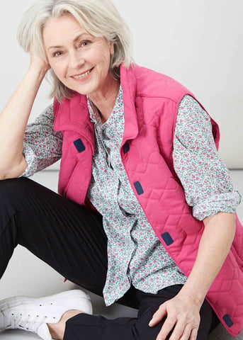 Harriet Diamond Quilted Gilet - Paradise Pink