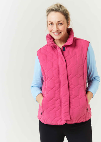 Harriet Diamond Quilted Velcro Gilet - Paradise Pink