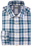 Harry Casual Linen Check Velcro Shirt - Teal: VAT Exempt