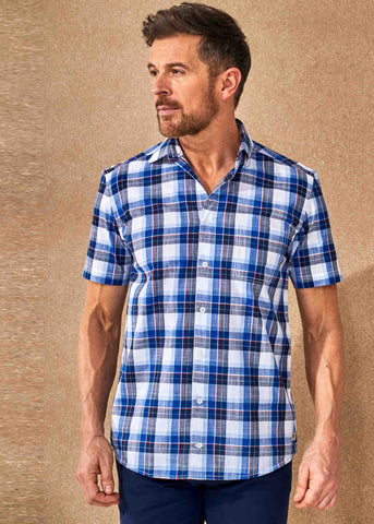 Henry Short Sleeve Casual Check Velcro Shirt - Med Blue