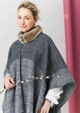 Heritage Check Faux Fur Collar Luxury Wrap - Grey