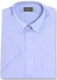Hugh Short Sleeve Classic Fit Oxford Non-Iron Velcro Shirt - Blue: VAT Exempt