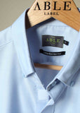 Hugh Short Sleeve Classic Fit Oxford Non-Iron Velcro Shirt - Blue