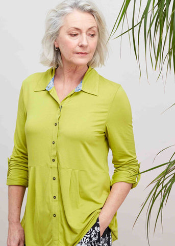 Imogen Jersey Shirt - Golden Lime: VAT Exempt