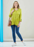 Imogen Jersey Long Sleeve Velcro Shirt - Golden Lime: VAT Exempt