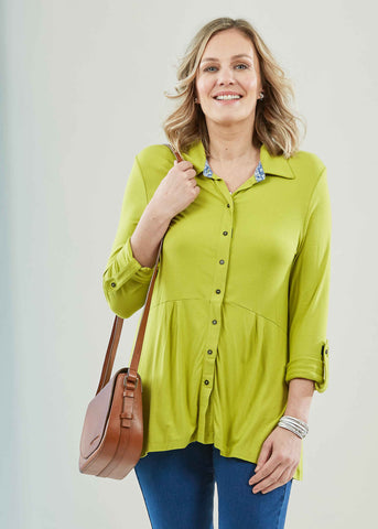 Imogen Jersey Long Sleeve Velcro Shirt - Golden Lime