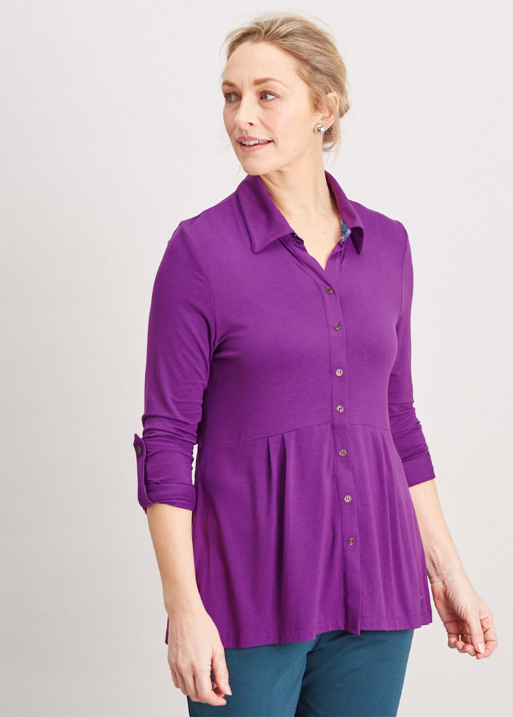 Imogen Jersey Long Sleeve Velcro Shirt - Plum Purple