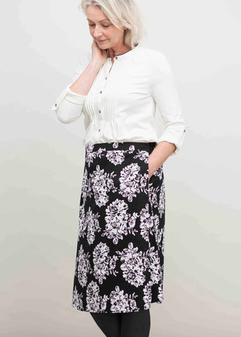Toni Cotton Rich A-Line Midi Velcro Wrap Skirt - Black Floral
