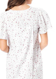 Jade Floral Open Back Short Sleeve Nightdress - Berry: VAT Exempt