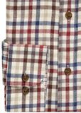 James Brushed Cotton Check Velcro Shirt - Royal Blue
