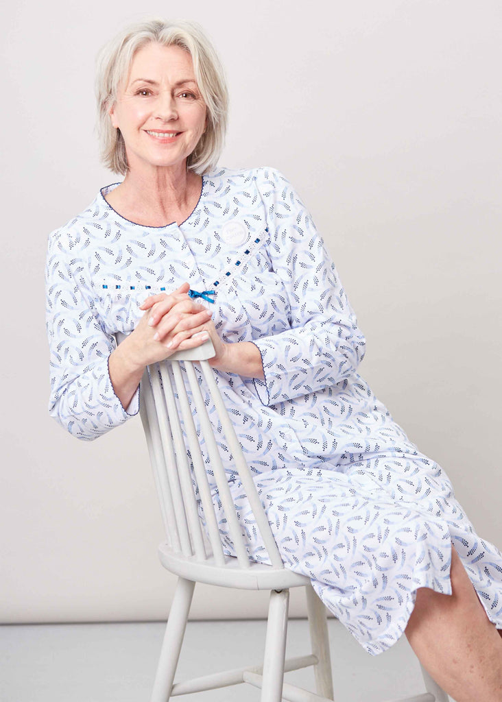 Janet Pure Cotton Printed Front Opening Velcro Nightdress - Med Blue: VAT Exempt