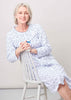 Janet Pure Cotton Printed Front Opening Velcro Nightdress - Med Blue