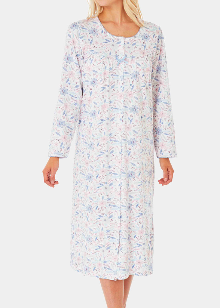 Janet Pure Cotton Floral Front Opening Velcro Nightdress - Pastels