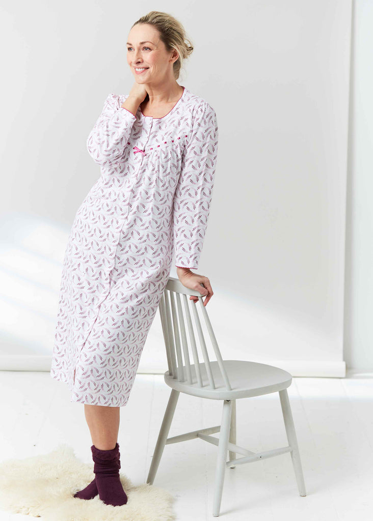 Janet Pure Cotton Printed Front Opening Velcro Nightdress - Plum Purple