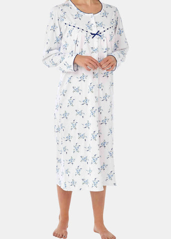 Janet Pure Cotton Floral Front Opening Velcro Nightdress - Seaspray