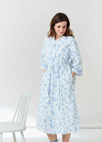 Jenny Floral Woven  Dressing Gown - Med Blue