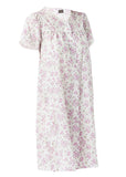 Jenny Floral Front Opening Short Sleeve Velcro Nightdress - Paradise Pink: VAT Exempt