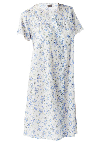 Jenny Floral Front Opening Short Sleeve Velcro Nightdress - Med Blue