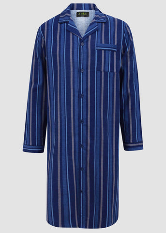 John Brushed Pure Cotton Long Sleeve Velcro Nightshirt - Royal Blue Stripe: VAT Exempt