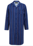 John Brushed Pure Cotton Long Sleeve Velcro Nightshirt - Royal Blue Stripe