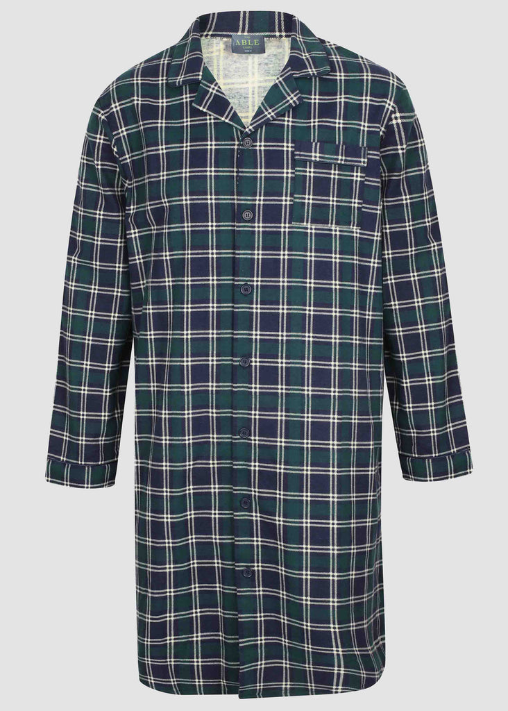 John Brushed Pure Cotton Long Sleeve Velcro Nightshirt - Green Check: VAT Exempt