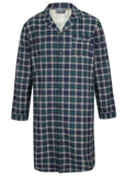 John Brushed Pure Cotton Long Sleeve Velcro Nightshirt - Green Check