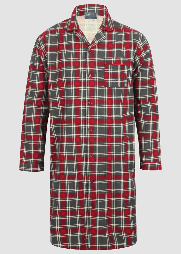 John Brushed Pure Cotton Long Sleeve Velcro Nightshirt - Red Check: VAT Exempt