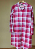 Julia Brushed Pure Cotton Long Sleeve Velcro Nightdress - Raspberry: VAT Exempt