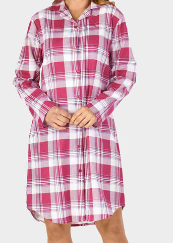 Julia Brushed Pure Cotton Long Sleeve Velcro Nightdress - Raspberry