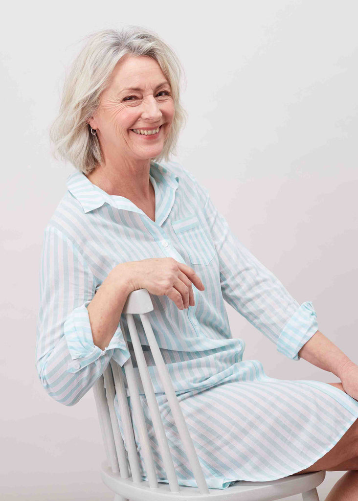 Juliet Pure Cotton 3/4 Sleeve Velcro Nightshirt - Mint: VAT Exempt