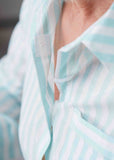 Juliet Pure Cotton 3/4 Sleeve Velcro Nightshirt - Mint
