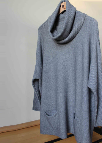 Keiko Dropped Shoulder Removable Roll Neck Knit - Grey