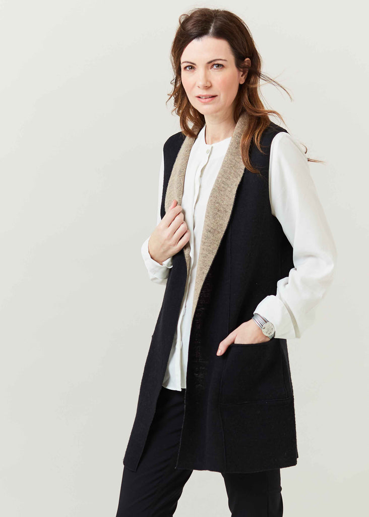 Kim Knitted Long Line Gilet - Black