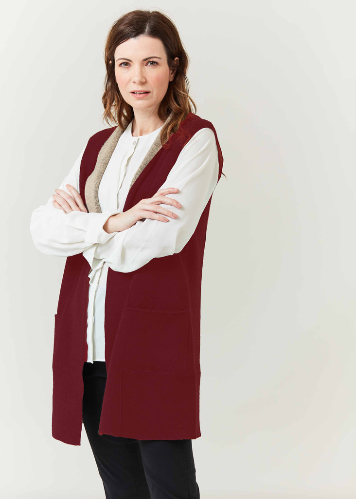 Kim Knitted Long Line Gilet - Berry Red