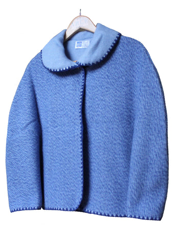 Lauren Plain Knitted Cape - Med Blue