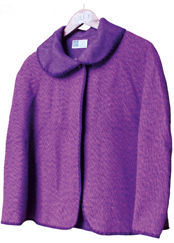 Lauren Plain Knitted Cape - Plum Purple