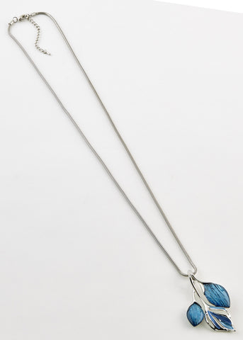 Leaf Long Line Pendant Necklace - Ocean Blue