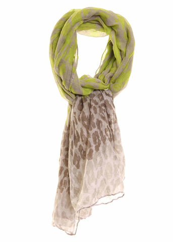 Leo Print Scarf - Golden Lime