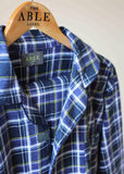 Lewis Brushed Pure Cotton Velcro Shirt & Pull On Bottoms PJ Set - Blue Check