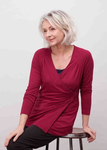 Linda Jersey Long Sleeve Velcro Wrap Top - Dragon Red