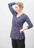 Linda Jersey Long Sleeve Velcro Wrap Top - Gingko Print Navy