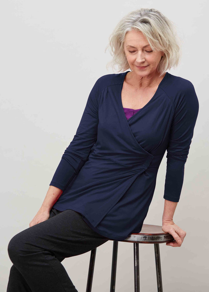 Linda Jersey Long Sleeve Velcro Wrap Top - Shibori Navy